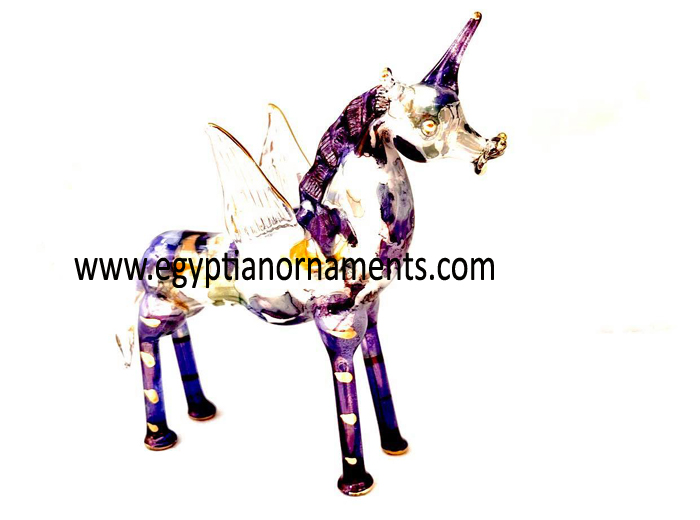 Egyptian Hand Blown Glass Alicorn Christmas Ornament