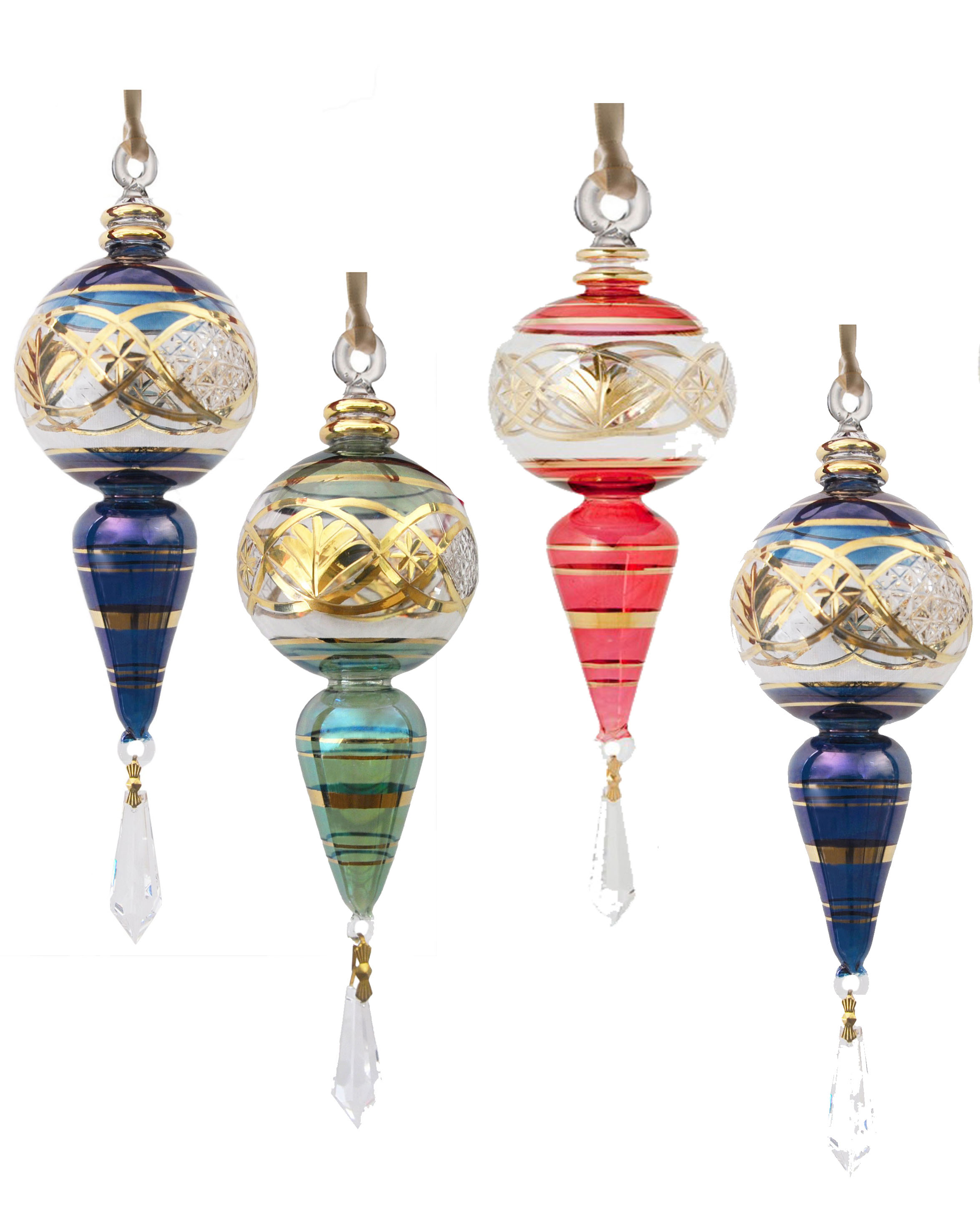 4 Hand Blown Glass Ornaments with crystal drop