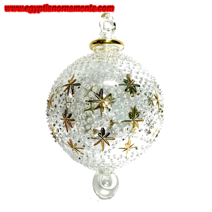 Hand Blown Glass Ornaments with Gold Stars