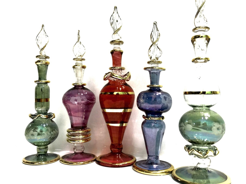 Lot Of 5 Hand Blown Glass Bottles