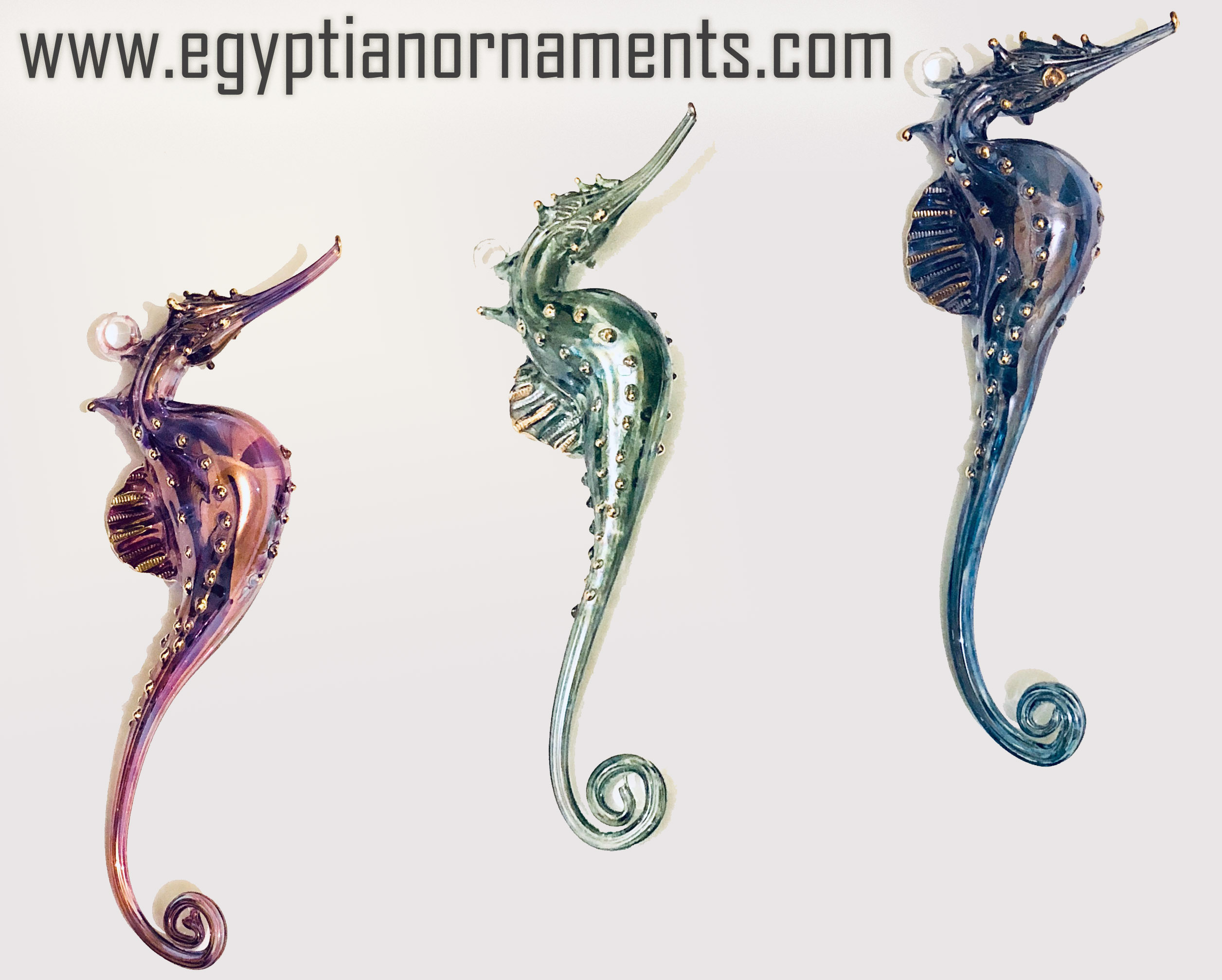50 Hand Blown Glass Seahorse Christmas Ornaments